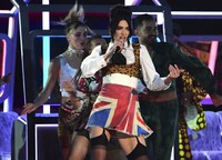 Dua Lipa performs during the Brit Awards 2021 at the O2 Arena in London on May 11, 2021. (Ian West/PA via AP)