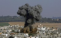 Smoke rises after an Israeli airstrike in Gaza City on May 11, 2021. (AP Photo/Hatem Moussa)
