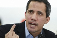 In this March 3, 2021 file photo, opposition leader Juan Guaido speaks at a press conference in the Los Palos Grandes neighborhood of Caracas, Venezuela. (AP Photo/Matias Delacroix)