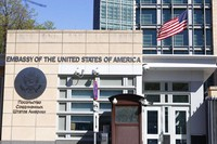 The U.S. Embassy and the National flag are seen in Moscow, Russia, on May 11, 2021. (AP Photo/Alexander Zemlianichenko)