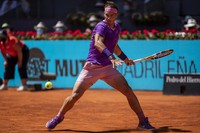 Spain's Rafael Nadal returns the ball to Germany's Alexander Zverev during their match at the Mutua Madrid Open tennis tournament in Madrid, Spain, on May 7, 2021. (AP Photo/Bernat Armangue)
