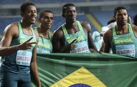 Brazil team members, from left, Paulo Andre Camilo de Oliveira, Derick Silva, Felipe Bardi dos Santos and Rodrigo do Nascimento pose for a photo after the men's 4x100 meters relay final in the Athletics World Relays Championships -- Silesia21 in Chorzow, Poland, on May 2, 2021. (AP Photo /Czarek Sokolowski)