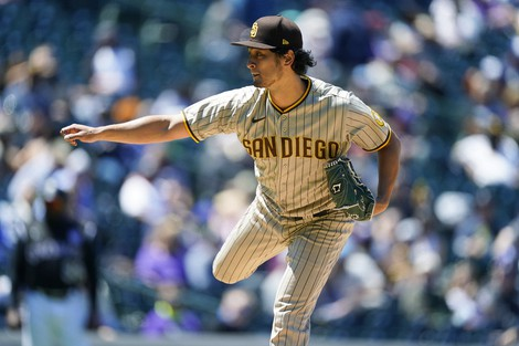 San Diego Padres starting pitcher Yu Darvish works against the Colorado Rockies in the second inning of game one of a baseball doubleheader on May 12, 2021, in Denver. (AP Photo/David Zalubowski)