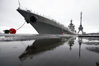 The Northern Fleet's flagship, the Pyotr Veilikiy (Peter the Great) missile cruiser, is seen at its Arctic base of Severomorsk, Russia, on May 13, 2021. (AP Photo/Alexander Zemlianichenko)
