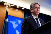 Secretary of State Antony Blinken speaks at a news conference to announce the annual International Religious Freedom Report at the State Department in Washington, on May 12, 2021. (AP Photo/Andrew Harnik, Pool)