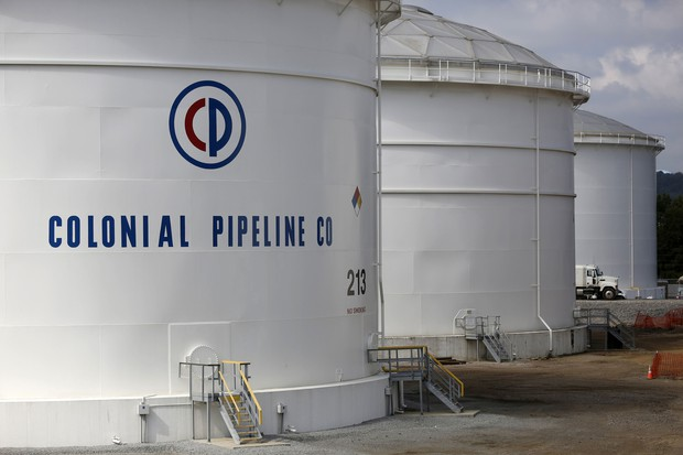 ハッカー攻撃を受けたコロニアル・パイプライン社の石油タンク(アラバマ州)Bloomberg