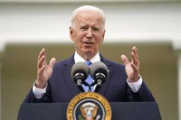 President Joe Biden speaks on updated guidance on face mask mandates and COVID-19 response, in the Rose Garden of the White House, on May 13, 2021, in Washington. (AP Photo/Evan Vucci)