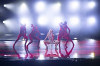 In this May 12, 2021 photo, Cyprus' performer Elena Tsagrinou rehearses her song El Diablo at the Eurovision Song Contest at Ahoy arena in Rotterdam, Netherlands. (AP Photo/Peter Dejong)