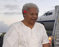 Samoa's Deputy Prime Minister Fiame Naomi Mata'afa arrives at Faleolo Airport in Apia, Samoa, on Sept. 8, 2017. (Lukas Coch/AAP Image)