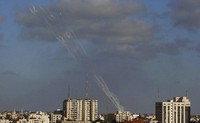 Rockets are launched from the Gaza Strip to Israel, on May 17, 2021. (AP Photo/Hatem Moussa)