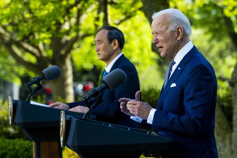 日米首脳会談では中国に強いメッセージを発信した(米ホワイトハウスで4月16日) (Bloomberg)