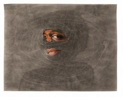 【写真1】Tameca Cole, Locked in a Dark Calm, 2016. Collage and graphite on paper. 8 1/2 x 11 inches. Collection Ellen Driscoll. Courtesy MoMA PS1