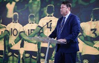 Rugby Australia Chairman Hamish McLennan addresses a media event in Sydney where Australia formally announced its bid to host the 2027 Rugby World Cup, Thursday, May 20, 2021. (AP Photo/Mark Baker)