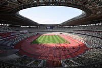 This May 9, 2021 photo shows an Olympic test event for athletics at the Japan National Stadium in Tokyo. Spectators were not allowed due to the coronavirus pandemic. (Mainichi/Takehiko Onishi)