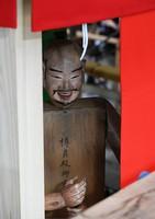 A deity figure is seen on the Takayama float, being rebuilt to return to the Gion Festival next year, in Kyotamba, Kyoto Prefecture, on May 24, 2021. (Mainichi/Kazuki Yamazaki)