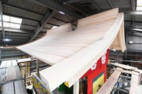 The roof of the Takayama float, being rebuilt to return to the Gion Festival next year, is seen in Kyotamba, Kyoto Prefecture, on May 24, 2021. (Mainichi/Kazuki Yamazaki)