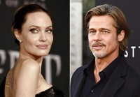 This combination photo shows Angelina Jolie at a premiere in Los Angeles on Sept. 30, 2019, left, and Brad Pitt at a special screening on Sept. 18, 2019. (AP Photo/File)