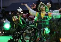 Performers dance on stage in Toshima Ward, Tokyo, on April 24, 2021. (Mainichi/Kota Yoshida)