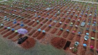 In this March 20, 2021 file photo, a worker digs a grave in the San Juan Bautista cemetery in Iquitos, Peru, amid the new coronavirus pandemic. (AP Photo/Rodrigo Abd)