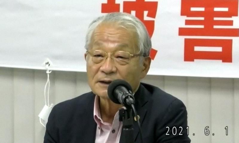 オンライン説明会で話す弁護団の河合弘之・共同団長=2021年6月1日