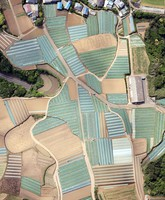 This photo taken from a Mainichi Shimbun helicopter shows vegetable fields creating a patchwork pattern in Miura, Kanagawa Prefecture, on May 31, 2021. (Mainichi/Kentaro Ikushima)