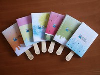 Popsicle-themed book covers with popsicle sticks for bookmarks that will be distributed as part of the crowdfunding project are seen in this image provided by Seiwado Book Store.