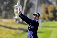 Yuka Saso, of the Philippines, celebrates her victory during the final round of the U.S. Women's Open golf tournament at The Olympic Club, on June 6, 2021, in San Francisco. (AP Photo/Jed Jacobsohn)