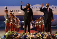 U.S. Vice President Kamala Harris and Guatemala's Minister of Foreign Affairs Pedro Brolo wave at her arrival ceremony in Guatemala City on June 6, 2021, at Guatemalan Air Force Central Command. (AP Photo/Jacquelyn Martin)