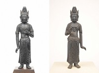 The privately owned figure of Mahasthamaprapta, left, and the Kannon figure owned by Shinkoji Temple are seen in this image provided by Otsu City Museum of History.