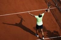 Spain's Rafael Nadal reacts after defeating Argentina's Diego Schwartzman in their quarterfinal match of the French Open tennis tournament at the Roland Garros stadium on June 9, 2021 in Paris. (AP Photo/Thibault Camus)