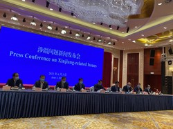 北京市内で行われた「新疆に関する記者会見」=2021年6月3日、米村耕一撮影