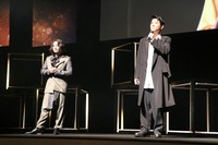 This photo shows Tetsuya Bessho, right, and Takayuki Yamada at the opening ceremony of the Short Shorts Film Festival and Asia in Tokyo on June 11, 2021. (Kyodo)