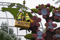 Workers on a platform set up flowers decoration with a map showing the United States in Beijing, Sunday, June 13, 2021. (AP Photo/Andy Wong)