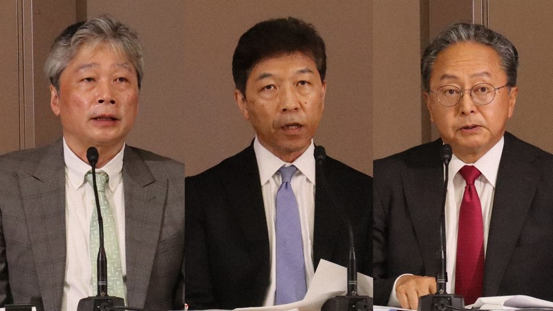 株主総会の公平性に関する調査報告書を公表しオンラインで会見する左から前田陽司、木崎孝、中村隆夫の3弁護士=2021年6月10日(東芝提供)