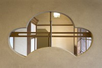 A window with a motif of pine is seen in the Tagoto room of the former Japanese-style restaurant Kaneyu in Noshiro, Akita Prefecture, on May 24, 2021. (Mainichi/Akihiro Ogomori)