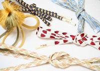 Traditional kumihimo braided cords made from various methods are seen at Ryukobo in Tokyo's Chuo Ward on Feb. 12, 2020. (Mainichi/Kota Yoshida)