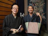 Ryuta Fukuda, right, and Takashi Fukuda of traditional kumihimo shop Ryukobo are seen at the workshop in Tokyo's Chuo Ward on Feb. 12, 2020. (Mainichi/Kota Yoshida)