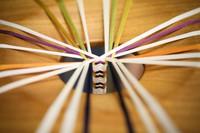 Thread is gathered to make traditional kumihimo braided cord at Ryukobo in Tokyo's Chuo Ward on Feb. 12, 2020. (Mainichi/Kota Yoshida)