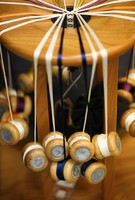 Spools resembling yo-yos that are wrapped with thread and used to create traditional kumihimo crafts, are seen at Ryukobo in Tokyo's Chuo Ward on Feb. 12, 2020. (Mainichi/Kota Yoshida)