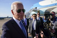 President Joe Biden speaks with reporters before boarding Air Force One at Heathrow Airport in London, on June 13, 2021. Biden is en route to Brussels to attend the NATO summit. (AP Photo/Patrick Semansky)
