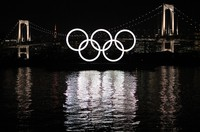 An Olympic rings monument is seen in Tokyo's Odaiba waterfront area on Jan. 18, 2021. (MainichiNaotsune Umemura)