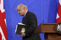 Britain's Prime Minister Boris Johnson attends a media briefing at Downing Street in London on June 14, 2021. (Jonathan Buckmaster/Pool Photo via AP)