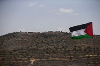 The the newly established hilltop Jewish outpost of Eviatar is seen from the Palestinian village of Beita, south of the West Bank city of Nablus, on June 14, 2021. (AP Photo/Majdi Mohammed)