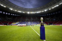 The Copa America trophy is placed on the field prior to the opening match between Brazil and Venezuela at National Stadium in Brasilia, Brazil, on June 13, 2021. (AP Photo/Ricardo Mazalan)