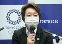 Seiko Hashimoto, president of the Tokyo Olympic and Paralympic organizing committee, speaks at a press conference in Tokyo on April 16, 2021. (Pool photo/Mainichi)
