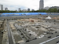 This photo shows the ruins of an atomic-bombed military installation, including cobblestones and waterways, found at the site of a planned soccer stadium in Naka Ward, Hiroshima. (Photo courtesy of the Hiroshima Municipal Government)