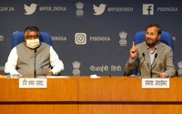 In this Feb. 25, 2021, file photo, India's Information Technology Minister Ravi Shankar Prasad, left, and Information and Broadcasting Minister Prakash Javadekar address a press conference announcing new regulations for social media companies and digital streaming websites in New Delhi, India. (AP Photo/Manish Swarup)