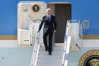 U.S. president Joe Biden arrives in Geneva, Switzerland on June 15, 2021, one day before the US - Russia summit. (Martial Trezzini/Keystone via AP, Pool)