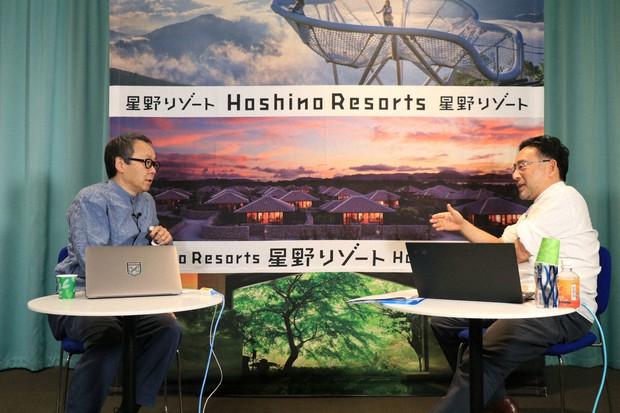 オンラインセッションに登場した、左から星野佳路さん、藻谷浩介さん=東京都中央区で2021年6月8日、小林努撮影