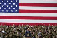 President Joe Biden speaks to American service members at RAF Mildenhall in Suffolk, England, on June 9, 2021. (AP Photo/Patrick Semansky)